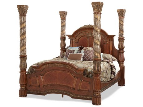Aico Furniture Michael Amini Villa Valencia Classic Chestnut Eastern King Size Poster Bed without Canopy AIC72000EKCAN551