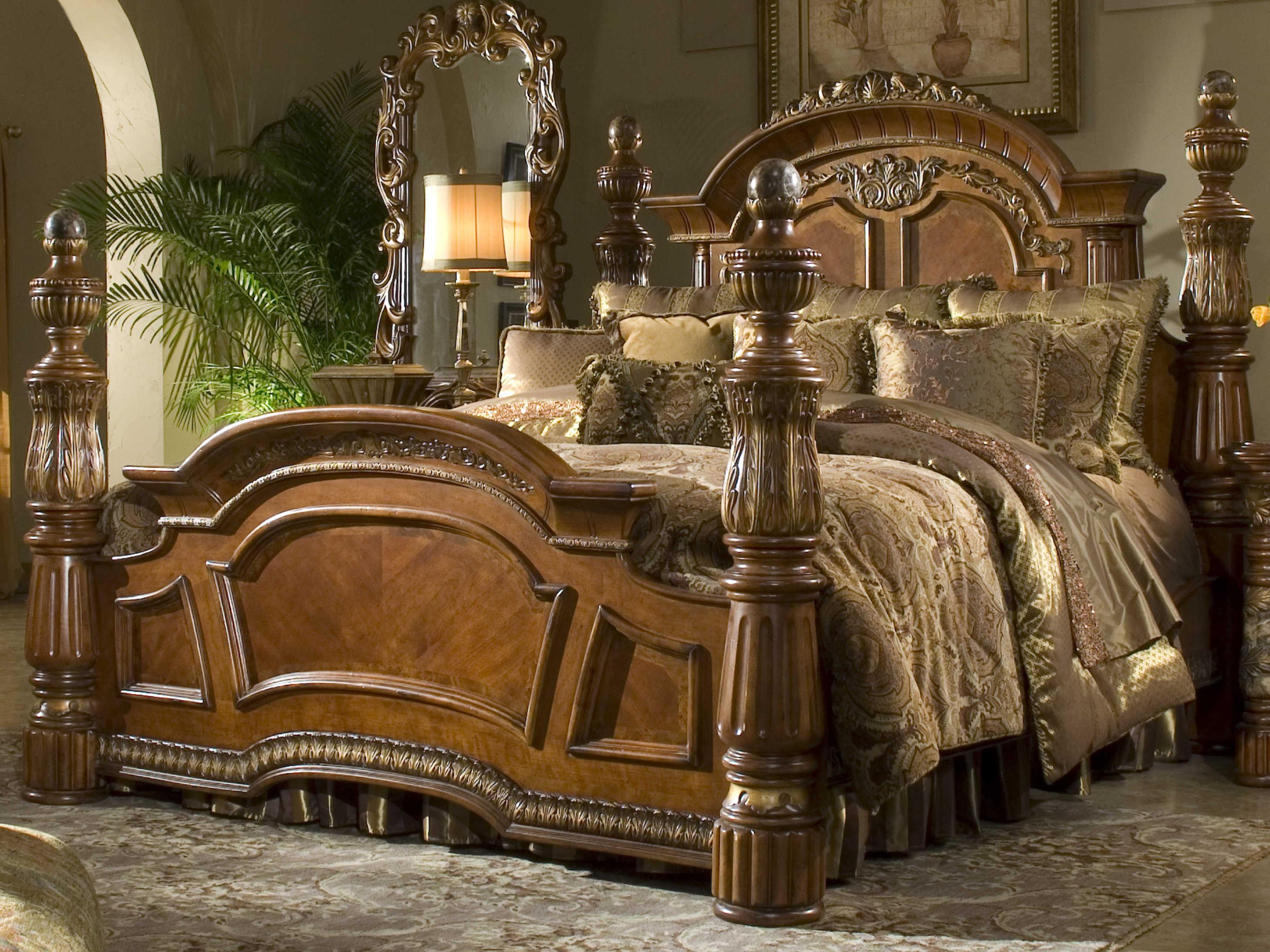 Aico Furniture Michael Amini Villa Valencia Classic Chestnut Eastern King Size Poster Bed Aic72000ekp55