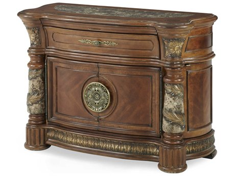 Aico Furniture Michael Amini Villa Valencia Classic Chestnut One-Drawer Bachelor Chest Nightstand AIC7204255
