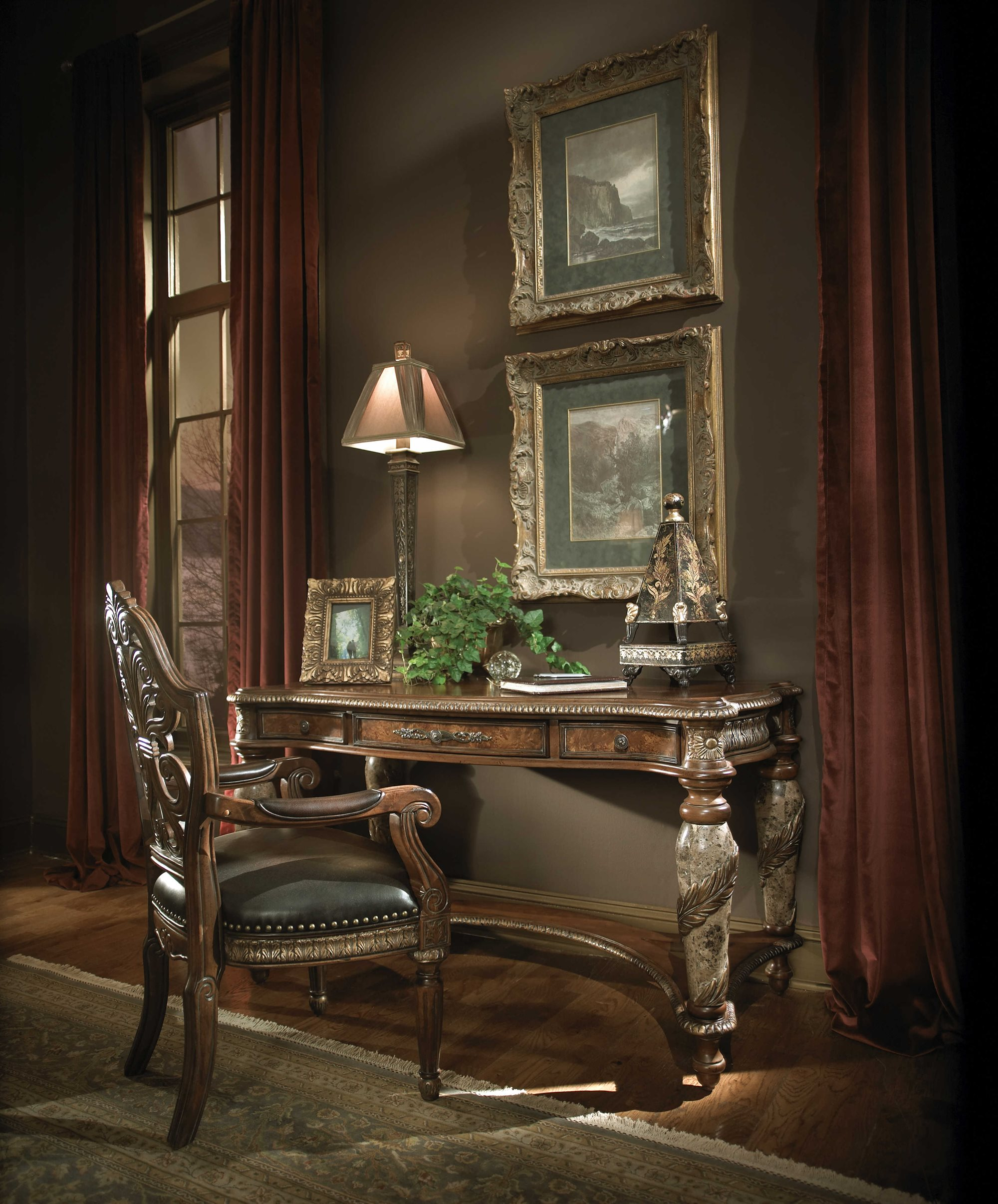 Valencia Carved Wood Traditional Bedroom Furniture Set 209000: AICO Furniture Villa Valencia Home Office Set