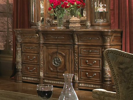 Aico Furniture Michael Amini Villa Valencia Classic Chestnut Nine-Drawer Triple Dresser AIC7205055
