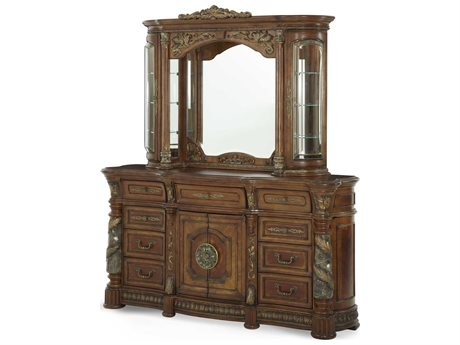 Aico Furniture Michael Amini Villa Valencia Classic Chestnut Triple Dresser with Dresser Mirror Set AIC7205055SET