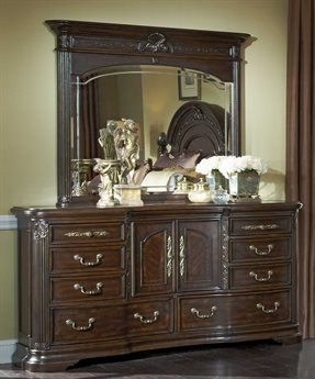 Aico Furniture Michael Amini Villagio Hazelnut Double Dresser with Dresser Mirror Set AIC5805144SET