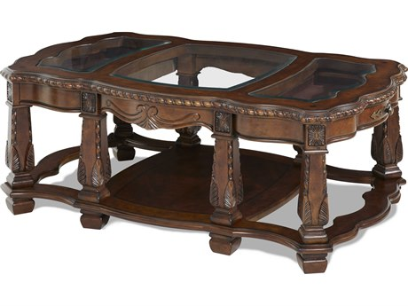 Aico Furniture Michael Amini Windsor Court Glass / Vintage Fruitwood 54''W x 34''D Rectangular Cocktail Table AIC7020154