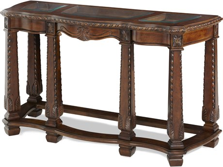 Aico Furniture Michael Amini Windsor Court Glass / Vintage Fruitwood 54''W x 20''D Rectangular Console Table AIC7020354