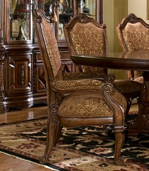 Aico Furniture Michael Amini Windsor Court Bronze & Gold / Vintage Fruitwood Dining Arm Chair