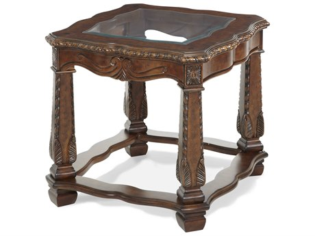 Aico Furniture Michael Amini Windsor Court Glass / Vintage Fruitwood 28''W x 26''D Rectangular End Table AIC7020254