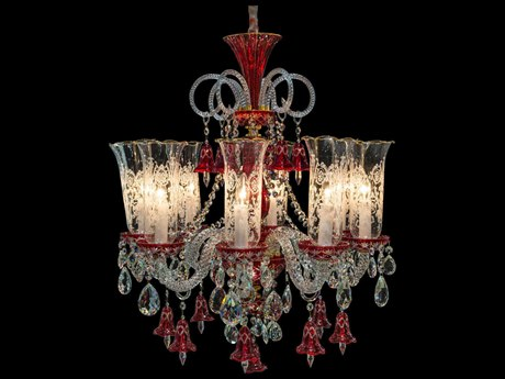 Aico Furniture Michael Amini Winter Palace Gold / Ruby Red Eight-Light 28'' Wide Chandelier AICLTCH9268GLD