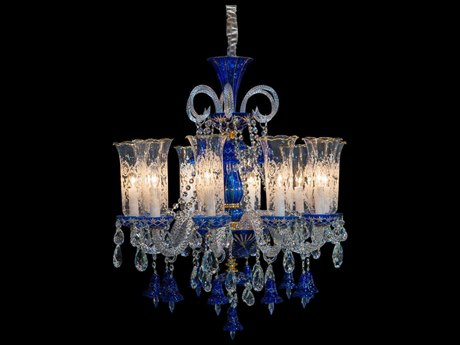 Aico Furniture Michael Amini Winter Palace Gold / Blue Ten-Light 30'' Wide Chandelier AICLTCH92710GLD