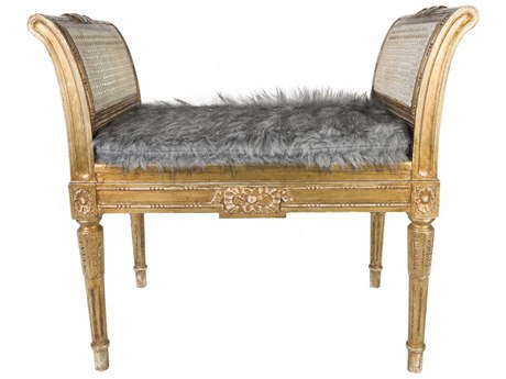 Aidan Gray Antique Distressed Gold Accent Bench AIDDIVA155