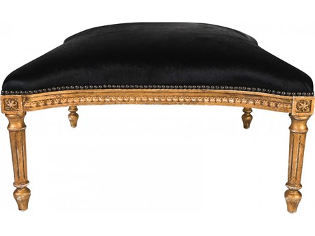Aidan Gray Antique Distressed Gold Accent Bench AIDDIVA160BLK