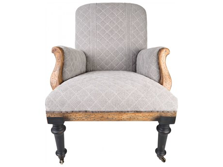 Aidan Gray Distressed Rustic Wood Rolling Accent Chair AIDDIVA150