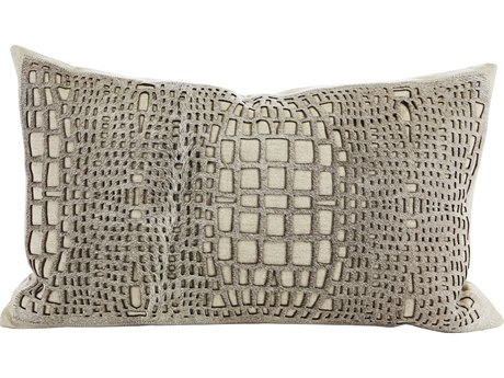 Aidan Gray Argent No-17 Linen /  Gray Hair on Hide 20'' x 12'' Rectangular Pillow AIDPL12ARGNO17