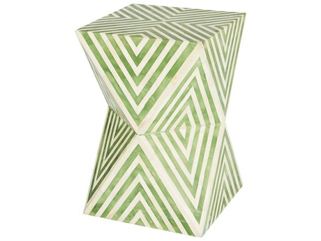 Aidan Gray Argyle Pale Jade / Cream 12'' Wide Square End Table / Stool AIDF376