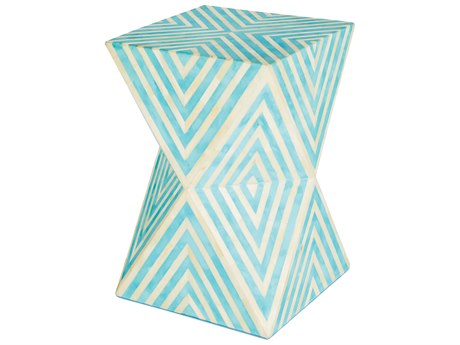 Aidan Gray Argyle Bay Blue / Cream 12'' Wide Square End Table / Stool AIDF377