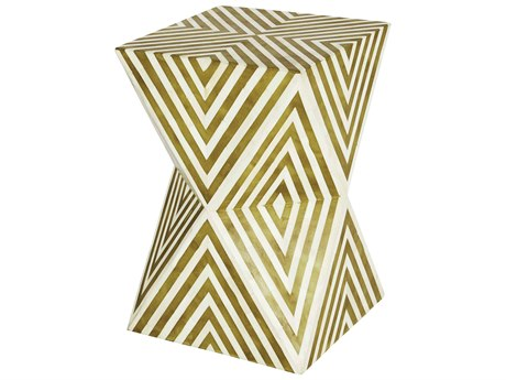 Aidan Gray Argyle Deep Chartreuse / Cream 12'' Wide Square End Table / Stool AIDF378