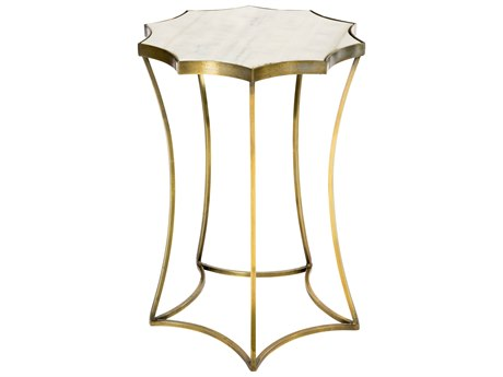 Aidan Gray Astre Antique Brass w/ Marble Top 17'' Wide Round End Table