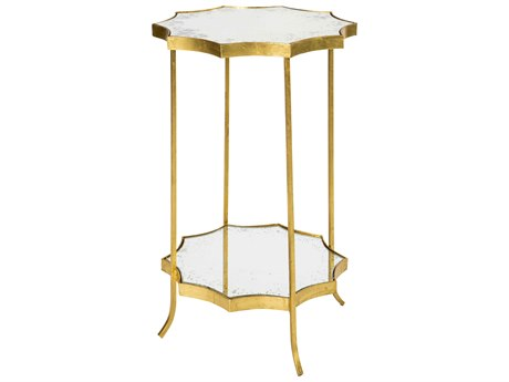 Aidan Gray Astre Gold Mirror Two Tier 17'' Wide Round End Table AIDF340GOLD
