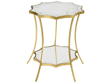 Aidan Gray Astre Curved Mirror Two Tier 17'' Wide Round End Table AIDF345DOUBLE