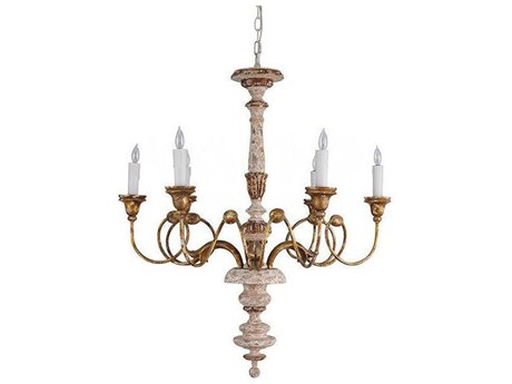 Aidan Gray Distressed White / Gold 27'' Wide Medium Chandelier