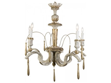Aidan Gray Antique White With Gold 33'' Wide Medium Chandelier