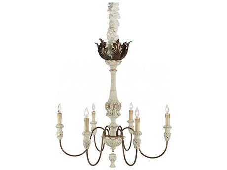 Aidan Gray Rustic White / Gold 35'' Wide Medium Chandelier
