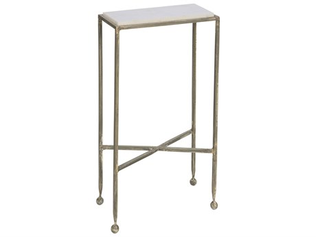 Aidan Gray Chino with Marble Top 14''W x 7''D Rectangular End Table AIDF215