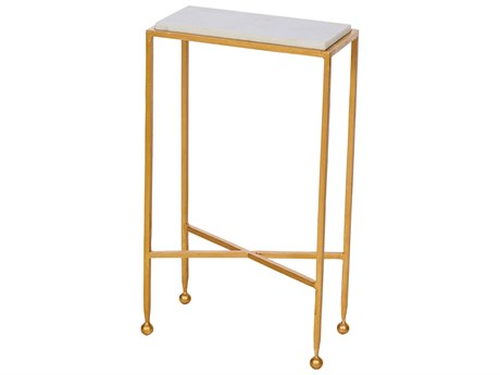 Aidan Gray Chino in Gold with Marble Top 14''W x 7''D Rectangular End Table AIDF215GLD