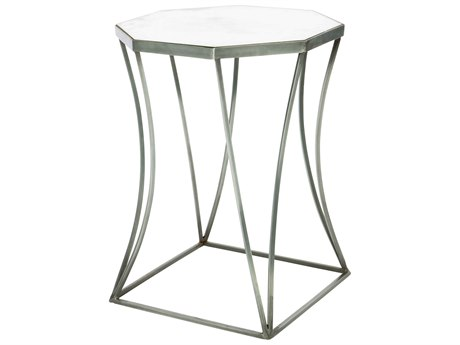 Aidan Gray Cuadrado Steel / Mirror 16'' Wide Octagonal End Table