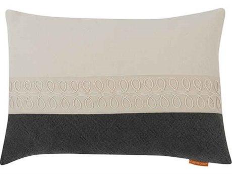Aidan Gray Curls No-10 White / Black 20'' x 14'' Rectangular Pillow AIDPL14CRLNO10