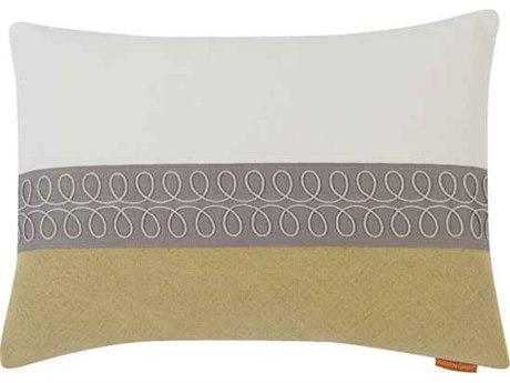 Aidan Gray Curls No-11 White / Green 20'' x 14'' Rectangular Pillow AIDPL14CRLNO11