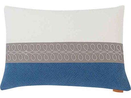 Aidan Gray Curls No-13 White / Blue 20'' x 14'' Rectangular Pillow AIDPL14CRLNO13
