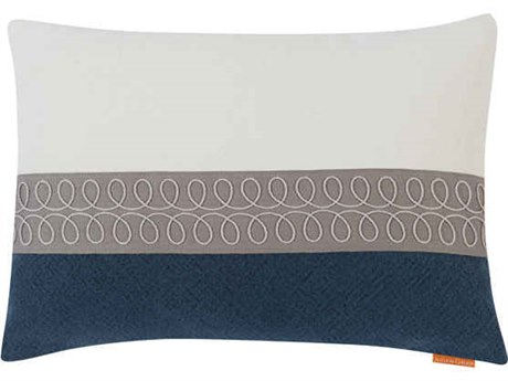 Aidan Gray Curls No-14 White / Blue 20'' x 14'' Rectangular Pillow AIDPL14CRLNO14