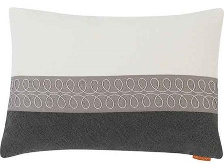 Aidan Gray Curls No-15 White / Black 20'' x 14'' Rectangular Pillow AIDPL14CRLNO15