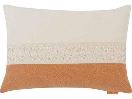Aidan Gray Curls No-4 White / Orange 20'' x 14'' Rectangular Pillow AIDPL14CRLNO4