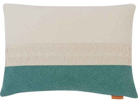 Aidan Gray Curls No-6 White / Turquoise 20'' x 14'' Rectangular Pillow AIDPL14CRLNO6