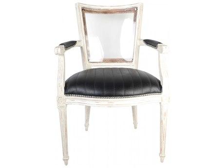 Aidan Gray Distressed White Arm Dining Chair AIDDIVA110BLK
