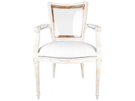 Aidan Gray Distressed White Arm Dining Chair AIDDIVA110WHT
