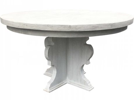 Aidan Gray Distressed Prague White 54'' Wide Round Dining Table AIDF104