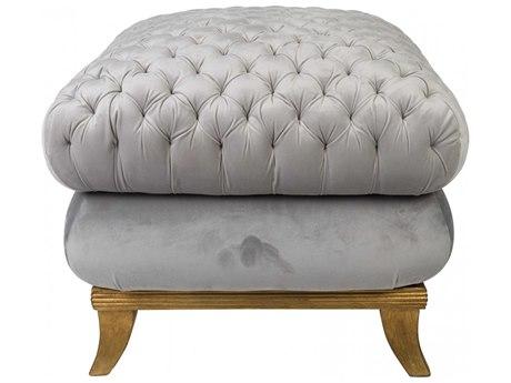 Aidan Gray Antique Distressed Gold / Gray Diva Ottoman AIDDIVA140GRY