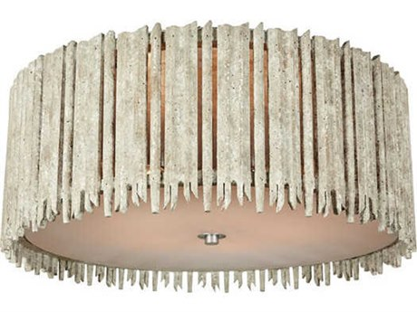 Aidan Gray Distressed White 22'' Wide Flush Mount Light