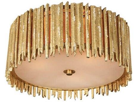 Aidan Gray Distressed Gold 16'' Wide Flush Mount Light
