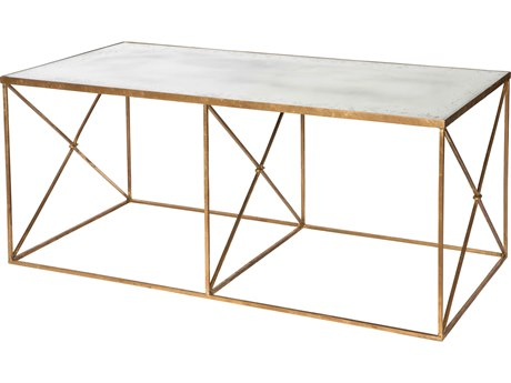 Aidan Gray Furano Antique Mirror / Gold 48''W x 24''D Rectangular Coffee Table AIDF288