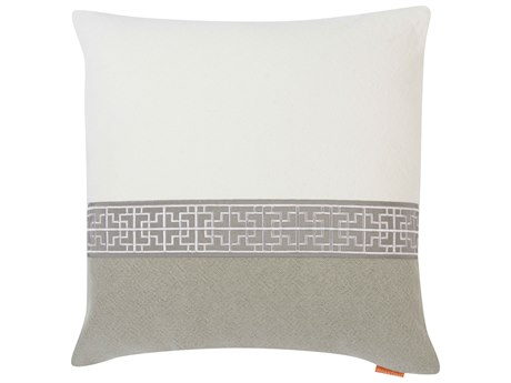 Aidan Gray Gatsby No-1 White / Gray 22'' Square Pillow AIDP22GTBNO1