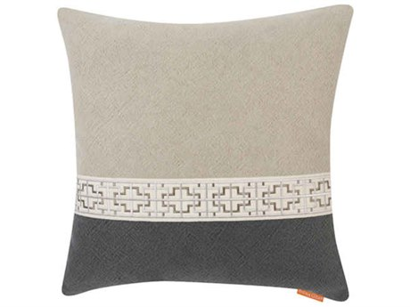 Aidan Gray Gatsby No-15 Gray / Black 22'' Square Pillow AIDP22GTBNO15