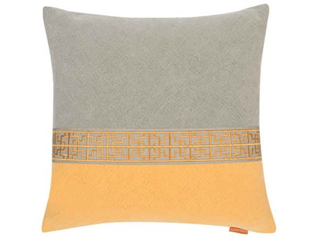 Aidan Gray Gatsby No-16 Gray / Orange 22'' Square Pillow AIDP22GTBNO16