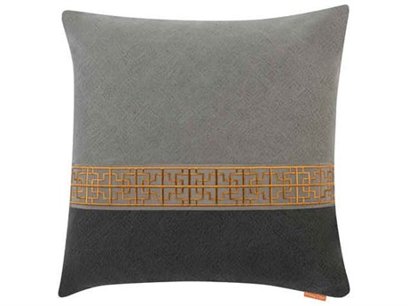 Aidan Gray Gatsby No-18 Gray / Black 22'' Square Pillow AIDP22GTBNO18