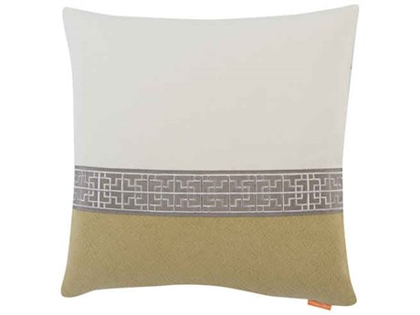 Aidan Gray Gatsby No-9 White / Green 22'' Square Pillow AIDP22GTBNO2