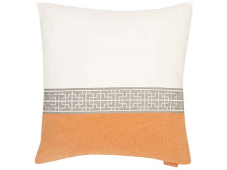 Aidan Gray Gatsby No-4 White / Orange 22'' Square Pillow AIDP22GTBNO4