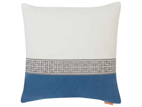 Aidan Gray Gatsby No-8 White / Blue 22'' Square Pillow AIDP22GTBNO8